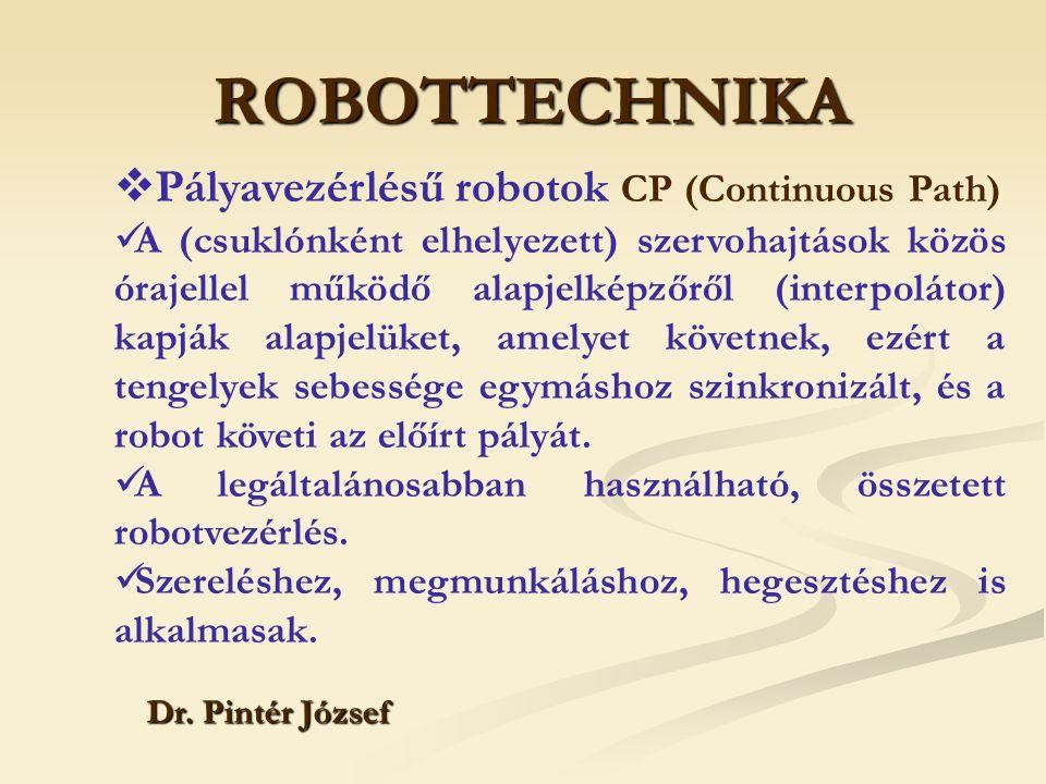 ROBOTTECHNIKA Dr. Pintér József  Pályavezérlésű robotok CP (Continuous Path) A (csuklónként elhelyezett) szervohajtások közös órajellel működő alapje
