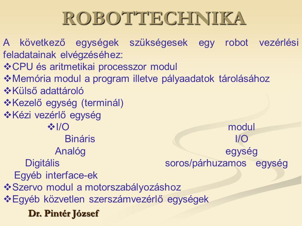 ROBOTTECHNIKA Dr. Pintér József A következő egységek szükségesek egy robot vezérlési feladatainak elvégzéséhez:  CPU és aritmetikai processzor modul