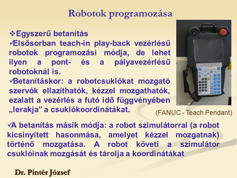 Dr. Pintér József  Egyszerű betanítás Elsősorban teach-in play-back vezérlésű robotok programozási módja, de lehet ilyen a pont- és a pályavezérlésű