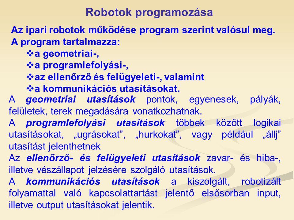 Robotok programozása Az ipari robotok működése program szerint valósul meg. A program tartalmazza:  a geometriai-,  a programlefolyási-,  az ellenő
