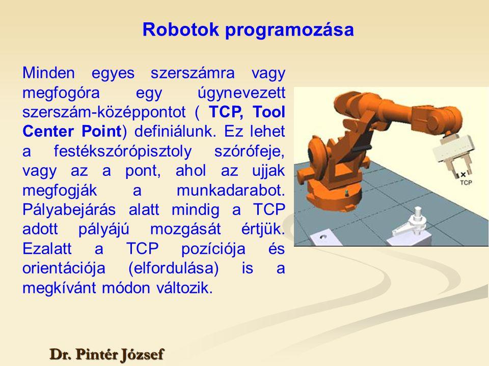 Robotok programozása Dr. Pintér József Minden egyes szerszámra vagy megfogóra egy úgynevezett szerszám-középpontot ( TCP, Tool Center Point) definiálu