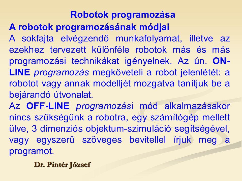 Robotok programozása Dr. Pintér József A robotok programozásának módjai A sokfajta elvégzendő munkafolyamat, illetve az ezekhez tervezett különféle ro