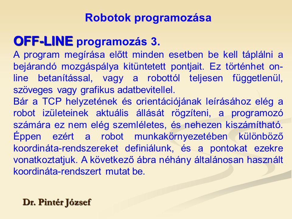 Robotok programozása Dr. Pintér József OFF-LINE OFF-LINE programozás 3. A program megírása előtt minden esetben be kell táplálni a bejárandó mozgáspál