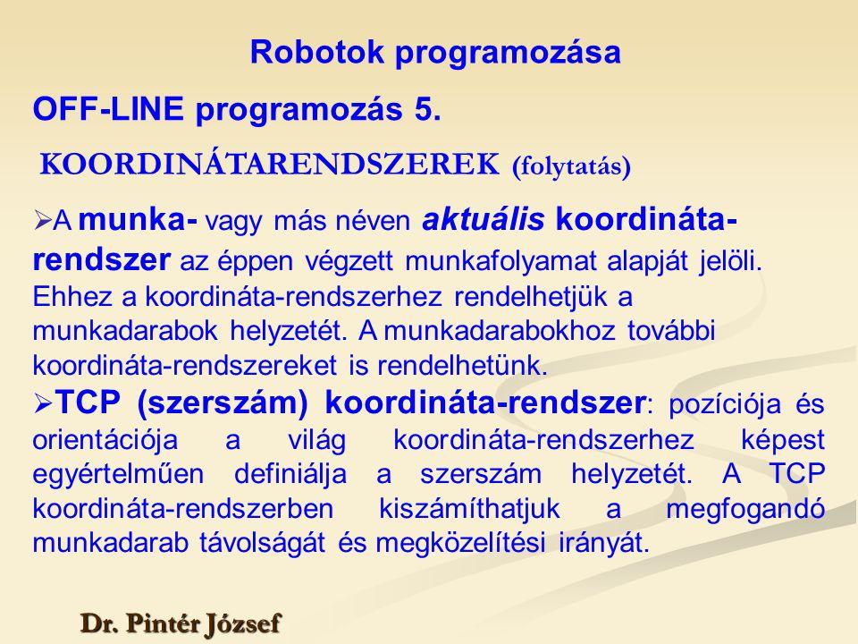 Robotok programozása Dr. Pintér József  A munka- vagy más néven aktuális koordináta- rendszer az éppen végzett munkafolyamat alapját jelöli. Ehhez a