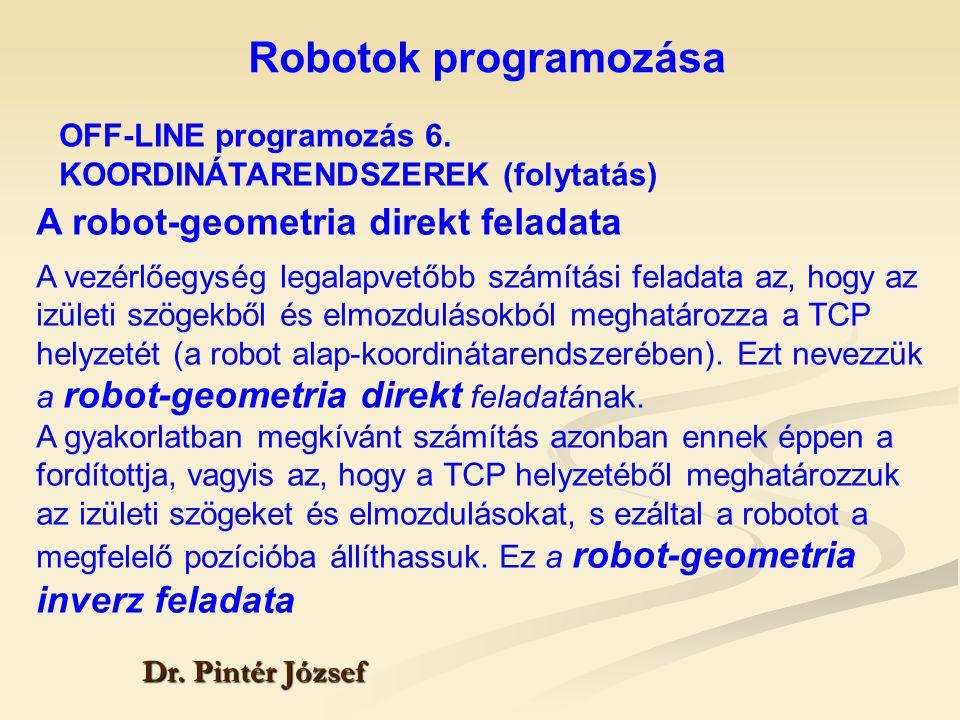Robotok programozása Dr. Pintér József A robot-geometria direkt feladata A vezérlőegység legalapvetőbb számítási feladata az, hogy az izületi szögekbő