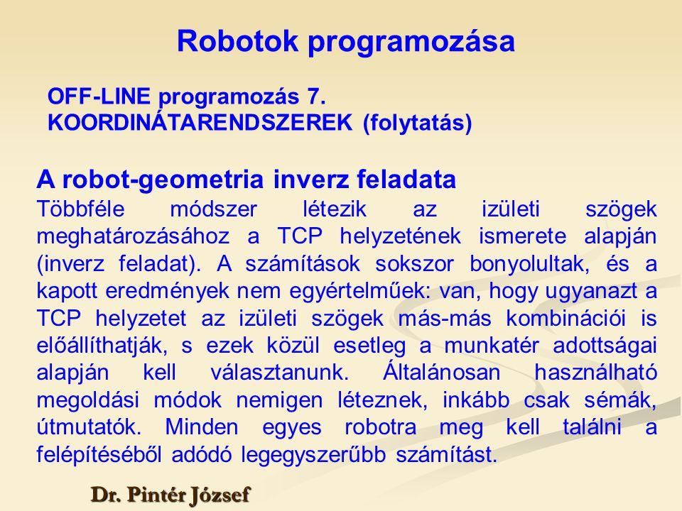 Robotok programozása Dr. Pintér József A robot-geometria inverz feladata Többféle módszer létezik az izületi szögek meghatározásához a TCP helyzetének