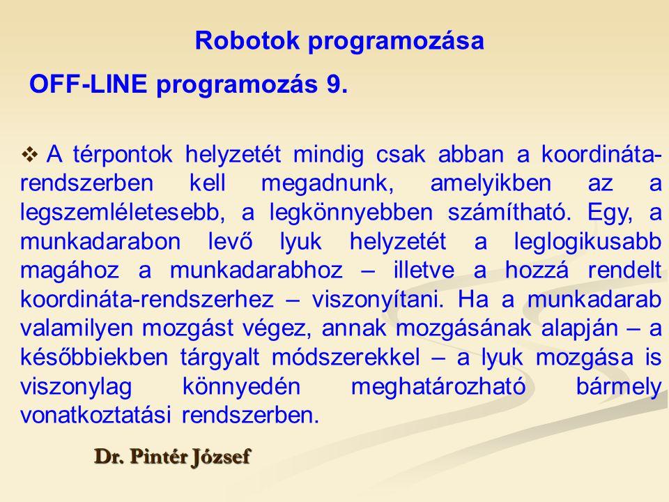 Robotok programozása Dr. Pintér József  A térpontok helyzetét mindig csak abban a koordináta- rendszerben kell megadnunk, amelyikben az a legszemléle