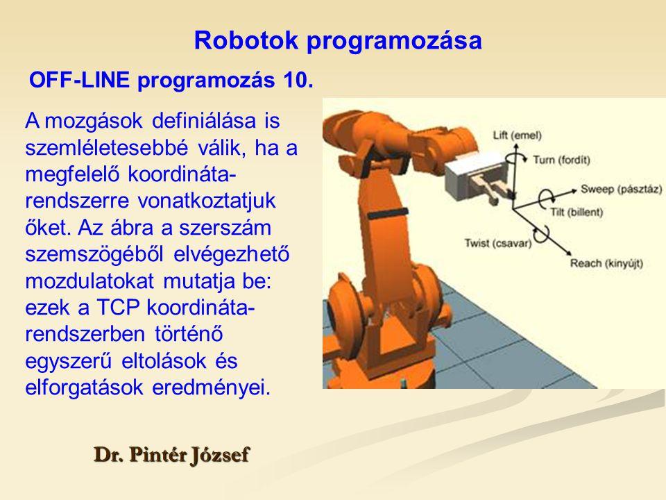 Robotok programozása Dr. Pintér József A mozgások definiálása is szemléletesebbé válik, ha a megfelelő koordináta- rendszerre vonatkoztatjuk őket. Az