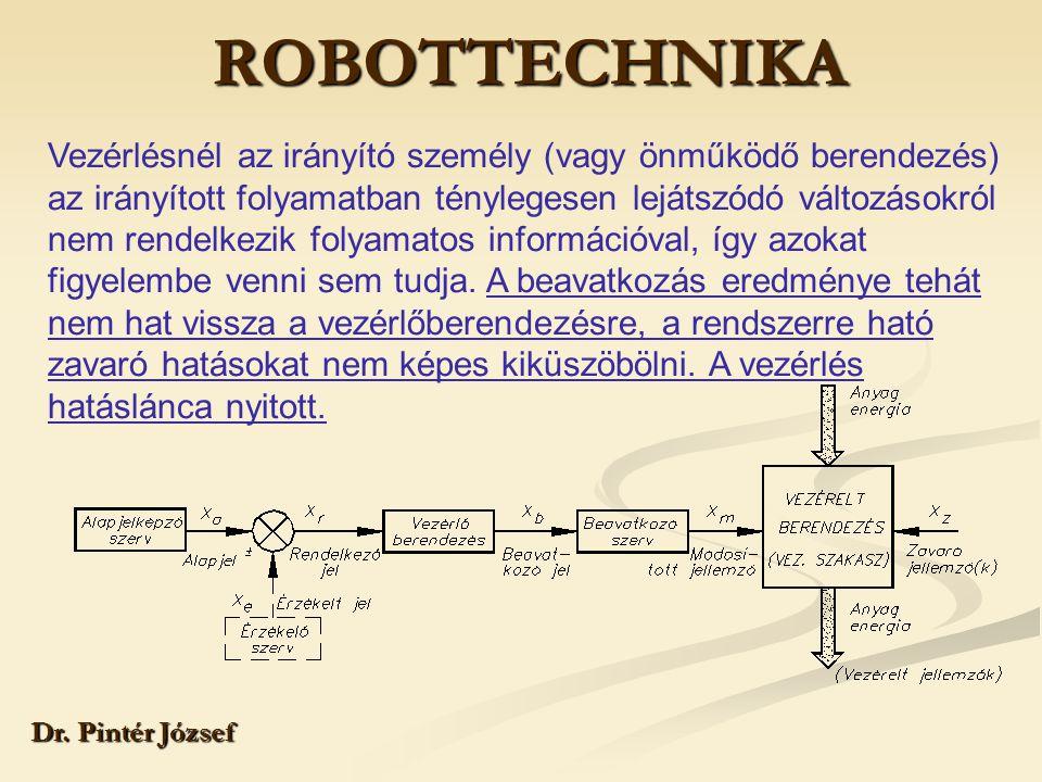 ROBOTTECHNIKA Dr. Pintér József Vezérlésnél az irányító személy (vagy önműködő berendezés) az irányított folyamatban ténylegesen lejátszódó változások
