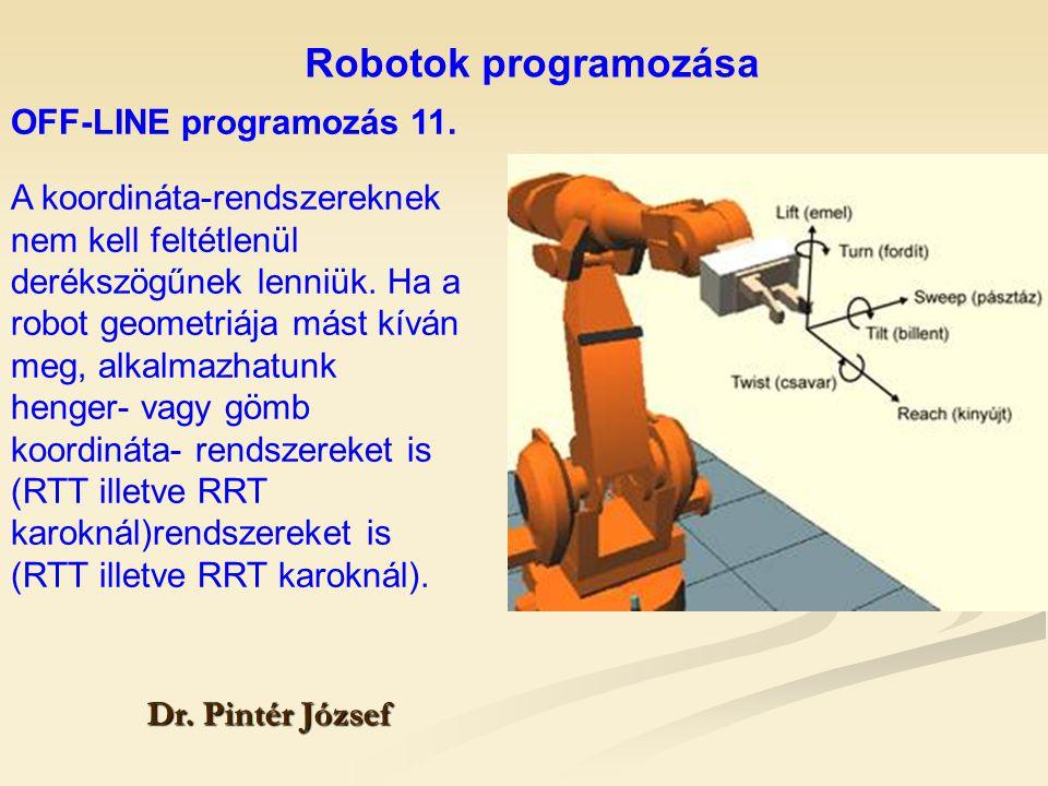 Robotok programozása Dr. Pintér József A koordináta-rendszereknek nem kell feltétlenül derékszögűnek lenniük. Ha a robot geometriája mást kíván meg, a