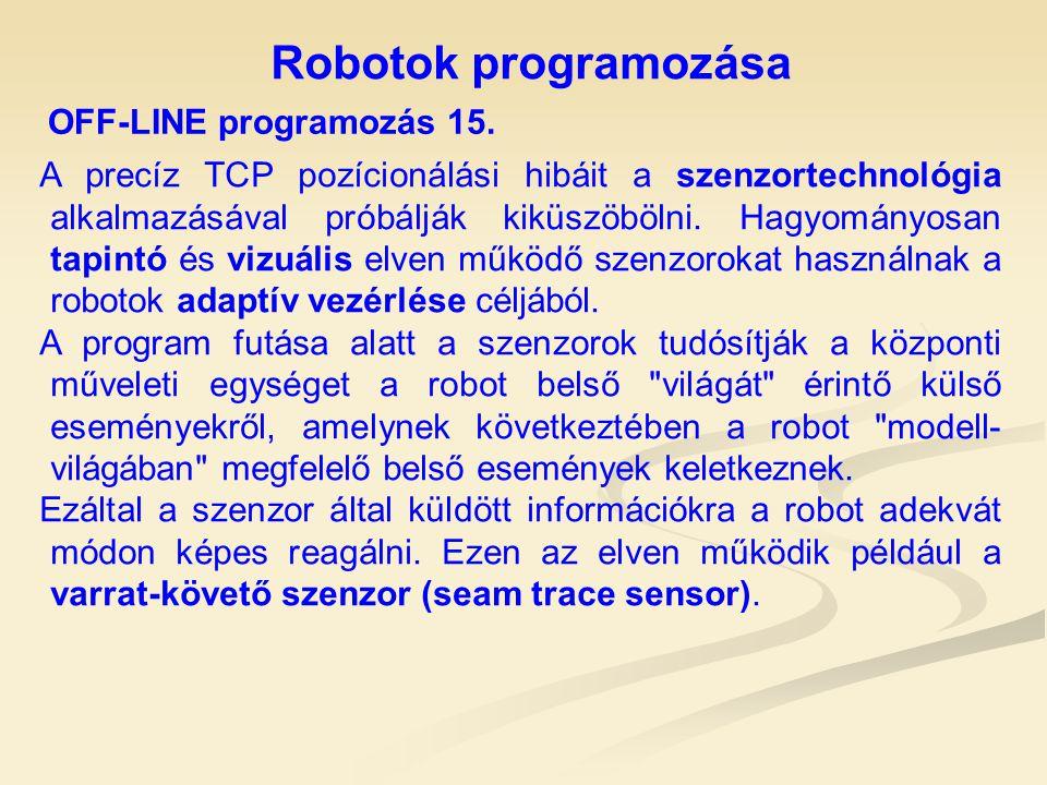 Robotok programozása OFF-LINE programozás 15. A precíz TCP pozícionálási hibáit a szenzortechnológia alkalmazásával próbálják kiküszöbölni. Hagyományo