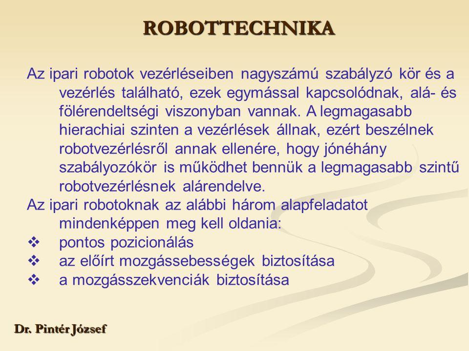 ROBOTTECHNIKA Dr. Pintér József Az ipari robotok vezérléseiben nagyszámú szabályzó kör és a vezérlés található, ezek egymással kapcsolódnak, alá- és f