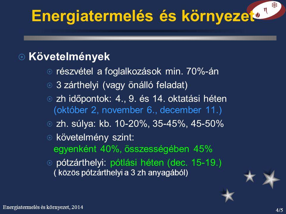 Energiatermelés és környezet, 2014 4/5 Energiatermelés és környezet ¤ Követelmények ¤ részvétel a foglalkozások min. 70%-án ¤ 3 zárthelyi (vagy önálló