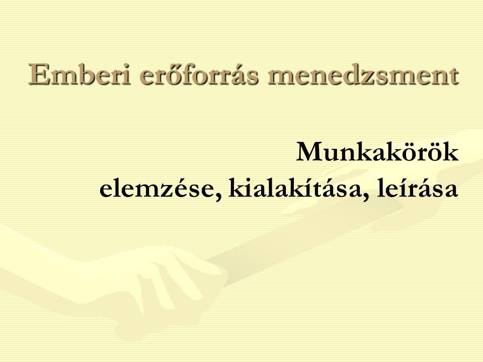 2 Vázlat  Munkakör elemzés  Munkaköri leírás és specifikáció  Munkakör tervezés