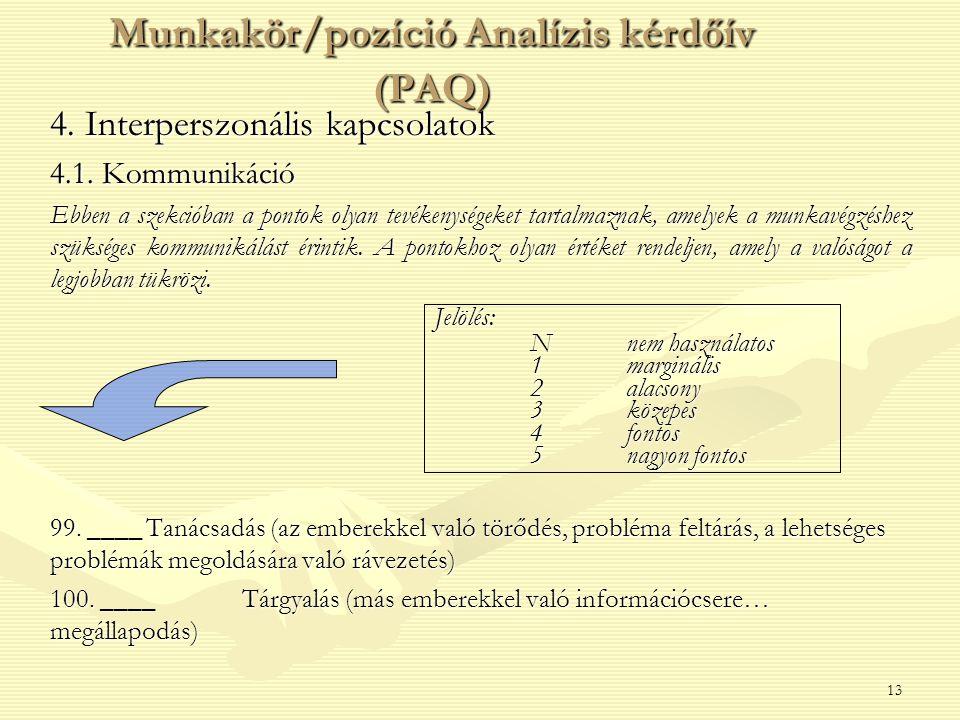 13 4. Interperszonális kapcsolatok 4.1. Kommunikáció Ebben a szekcióban a pontok olyan tevékenységeket tartalmaznak, amelyek a munkavégzéshez szüksége