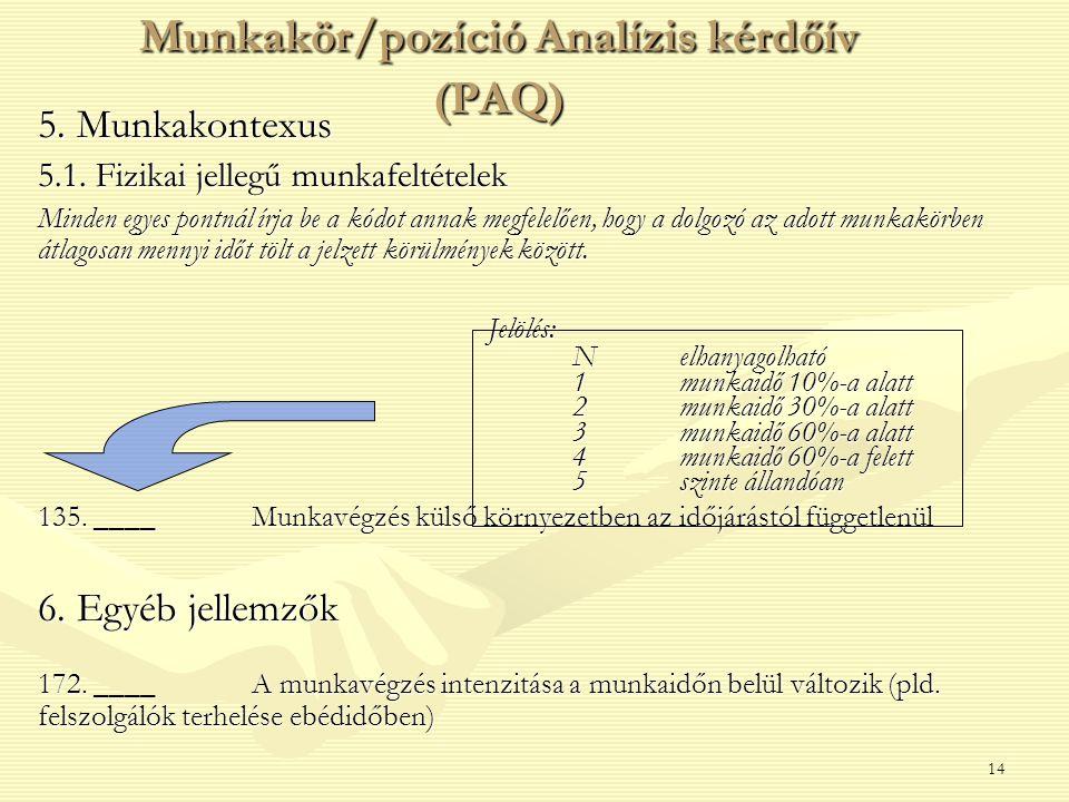 14 5. Munkakontexus 5.1. Fizikai jellegű munkafeltételek Minden egyes pontnál írja be a kódot annak megfelelően, hogy a dolgozó az adott munkakörben á