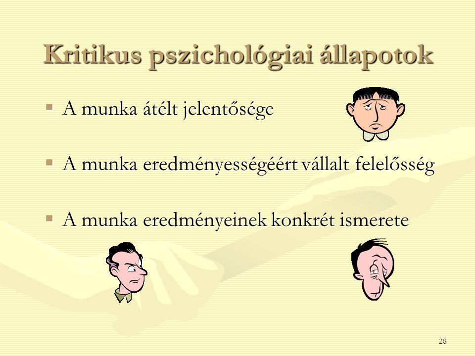 28 Kritikus pszichológiai állapotok  A munka átélt jelentősége  A munka eredményességéért vállalt felelősség  A munka eredményeinek konkrét ismerete