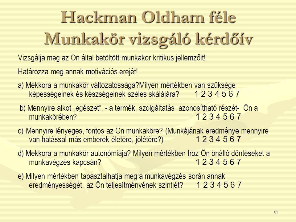 31 Hackman Oldham féle Munkakör vizsgáló kérdőív Vizsgálja meg az Ön által betöltött munkakor kritikus jellemzőit! Határozza meg annak motivációs erej