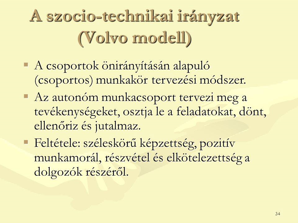 34 A szocio-technikai irányzat (Volvo modell)  A csoportok önirányításán alapuló (csoportos) munkakör tervezési módszer.  Az autonóm munkacsoport te