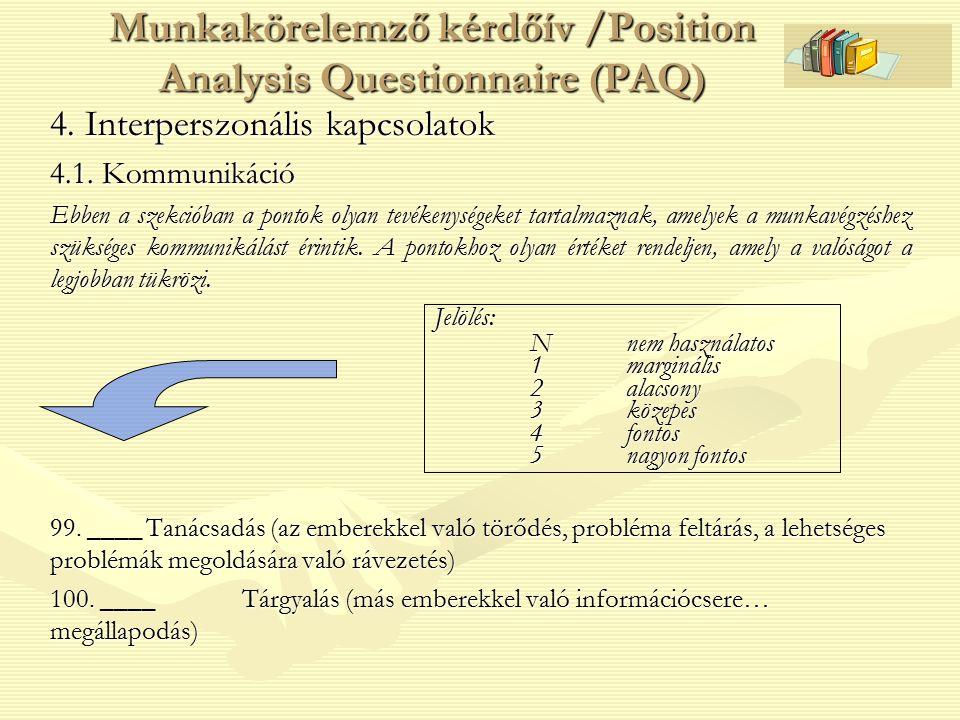 4. Interperszonális kapcsolatok 4.1. Kommunikáció Ebben a szekcióban a pontok olyan tevékenységeket tartalmaznak, amelyek a munkavégzéshez szükséges k
