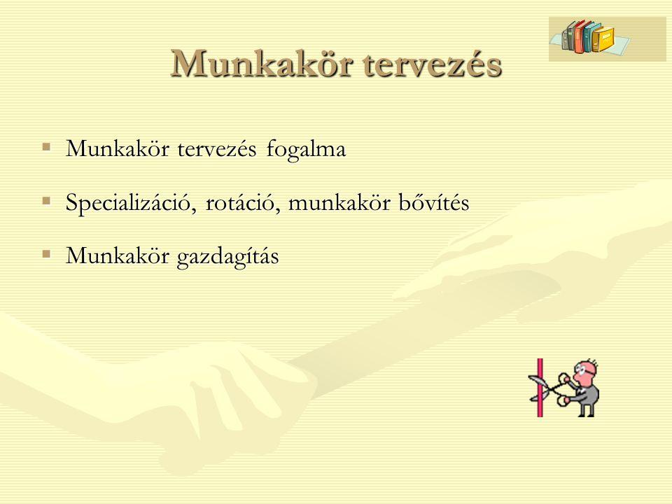 Munkakör tervezés  Munkakör tervezés fogalma  Specializáció, rotáció, munkakör bővítés  Munkakör gazdagítás