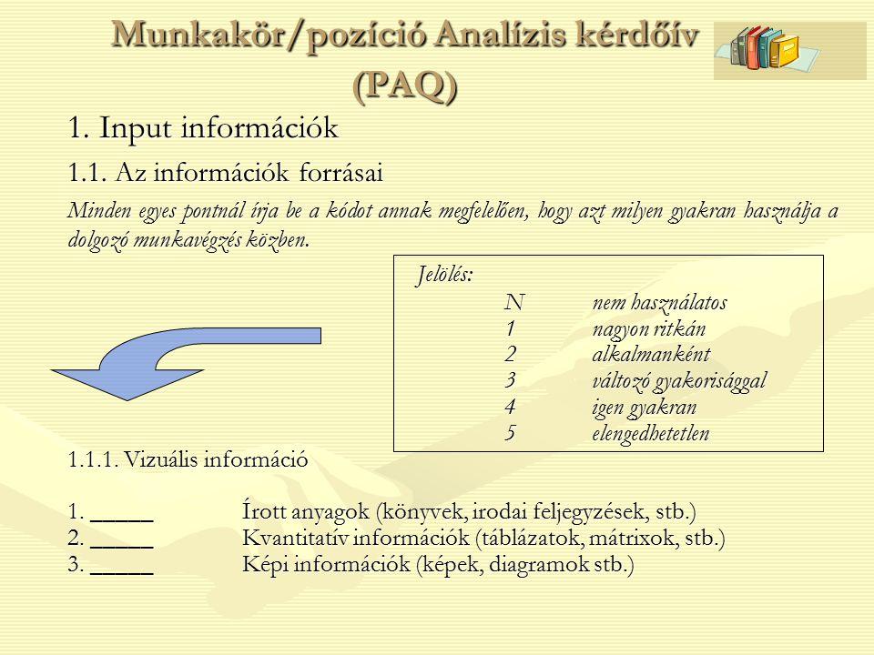 Munkakör/pozíció Analízis kérdőív (PAQ) 1. Input információk 1.1. Az információk forrásai Minden egyes pontnál írja be a kódot annak megfelelően, hogy