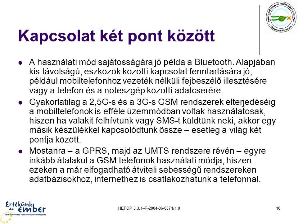 HEFOP 3.3.1–P-2004-06-0071/1.010 Kapcsolat két pont között A használati mód sajátosságára jó példa a Bluetooth. Alapjában kis távolságú, eszközök közö