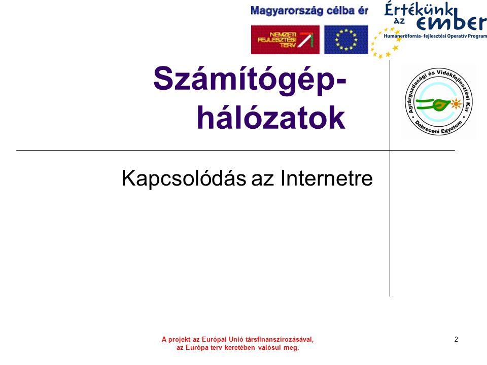 A projekt az Európai Unió társfinanszírozásával, az Európa terv keretében valósul meg. 2 Számítógép- hálózatok Kapcsolódás az Internetre