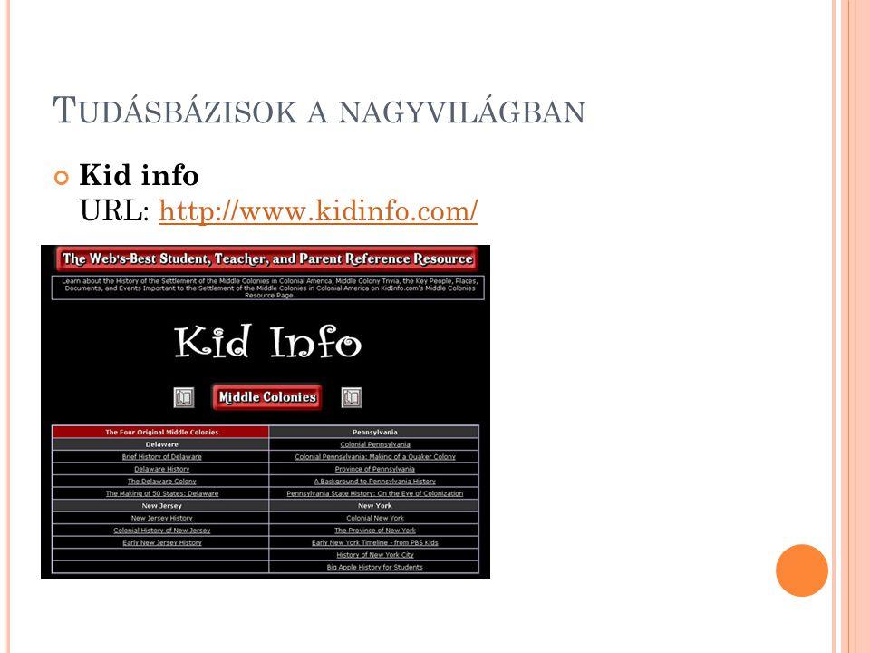 T UDÁSBÁZISOK A NAGYVILÁGBAN Kid info URL: http://www.kidinfo.com/http://www.kidinfo.com/