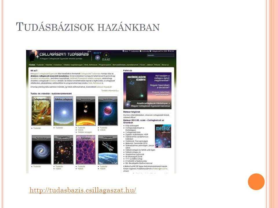 T UDÁSBÁZISOK HAZÁNKBAN http://tudasbazis.csillagaszat.hu/