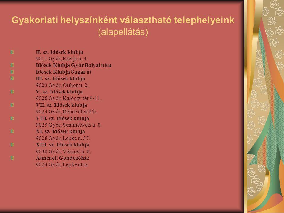 Gyakorlati helyszínként választható telephelyeink (alapellátás) II. sz. Idősek klubja 9011 Győr, Ezerjó u. 4. Idősek Klubja Győr Bolyai utca Idősek Kl