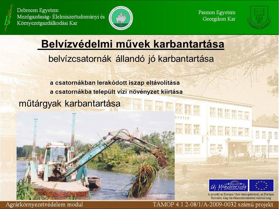 Belvízvédelmi művek karbantartása belvízcsatornák állandó jó karbantartása a csatornákban lerakódott iszap eltávolítása a csatornákba települt vízi növényzet kiirtása műtárgyak karbantartása