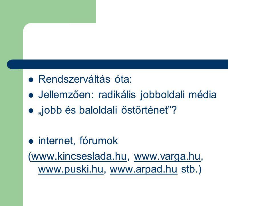 """Rendszerváltás óta: Jellemzően: radikális jobboldali média """"jobb és baloldali őstörténet""""? internet, fórumok (www.kincseslada.hu, www.varga.hu, www.pu"""