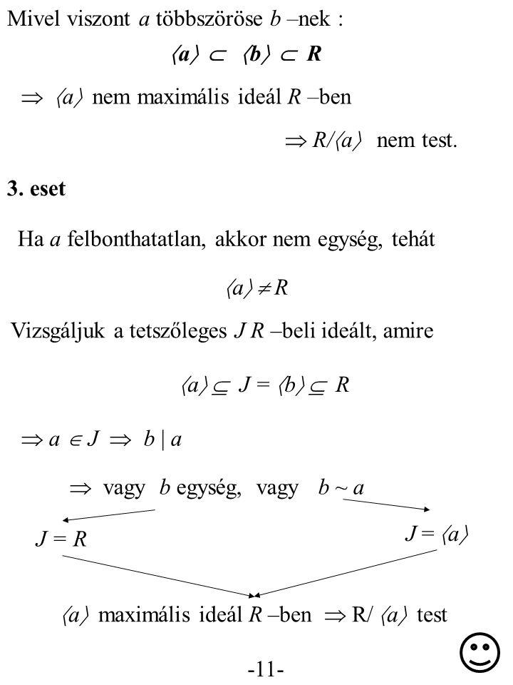 -11- Mivel viszont a többszöröse b –nek :  a    b   R   a  nem maximális ideál R –ben  R/  a  nem test. 3. eset Ha a felbonthatatlan, akko