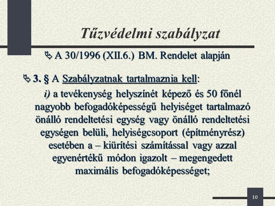 10 Tűzvédelmi szabályzat  A 30/1996 (XII.6.) BM. Rendelet alapján  3. § A Szabályzatnak tartalmaznia kell: i) a tevékenység helyszínét képező és 50
