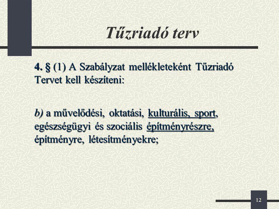 12 Tűzriadó terv 4. § (1) A Szabályzat mellékleteként Tűzriadó Tervet kell készíteni: b) a művelődési, oktatási, kulturális, sport, egészségügyi és sz