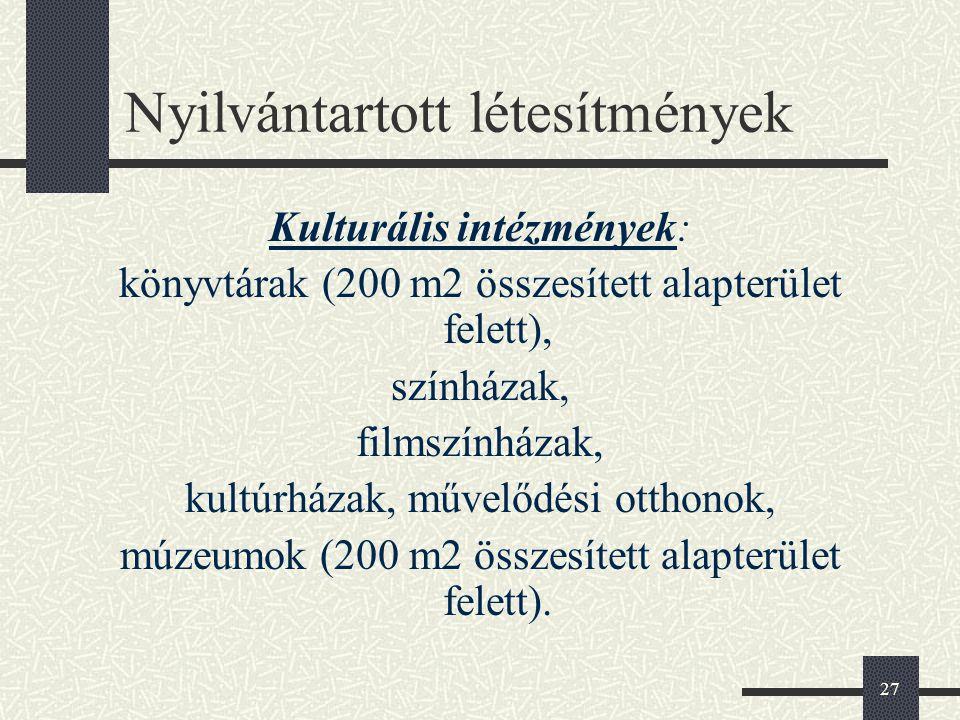 27 Nyilvántartott létesítmények Kulturális intézmények: könyvtárak (200 m2 összesített alapterület felett), színházak, filmszínházak, kultúrházak, műv