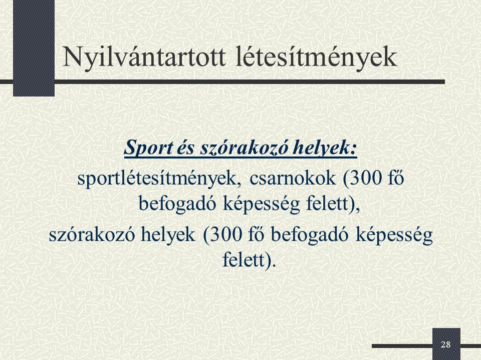 28 Nyilvántartott létesítmények Sport és szórakozó helyek: sportlétesítmények, csarnokok (300 fő befogadó képesség felett), szórakozó helyek (300 fő b