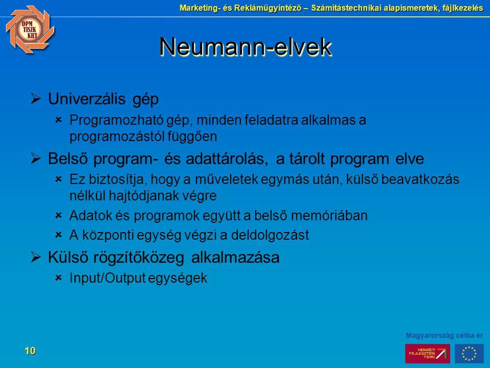 Marketing- és Reklámügyintéző – Számítástechnikai alapismeretek, fájlkezelés 10 Neumann-elvekNeumann-elvek  Univerzális gép  Programozható gép, mind