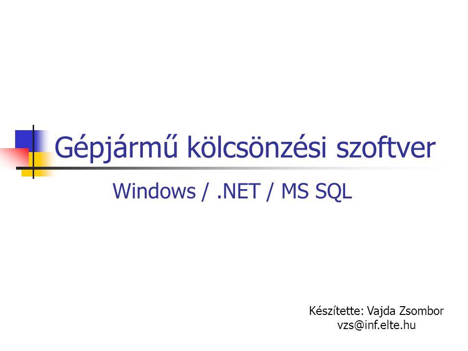 Gépjármű kölcsönzési szoftver Windows /.NET / MS SQL Készítette: Vajda Zsombor vzs@inf.elte.hu