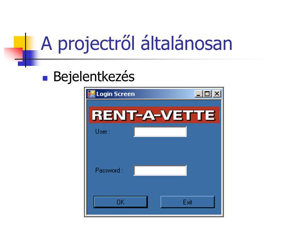 A projectről általánosan Bejelentkezés