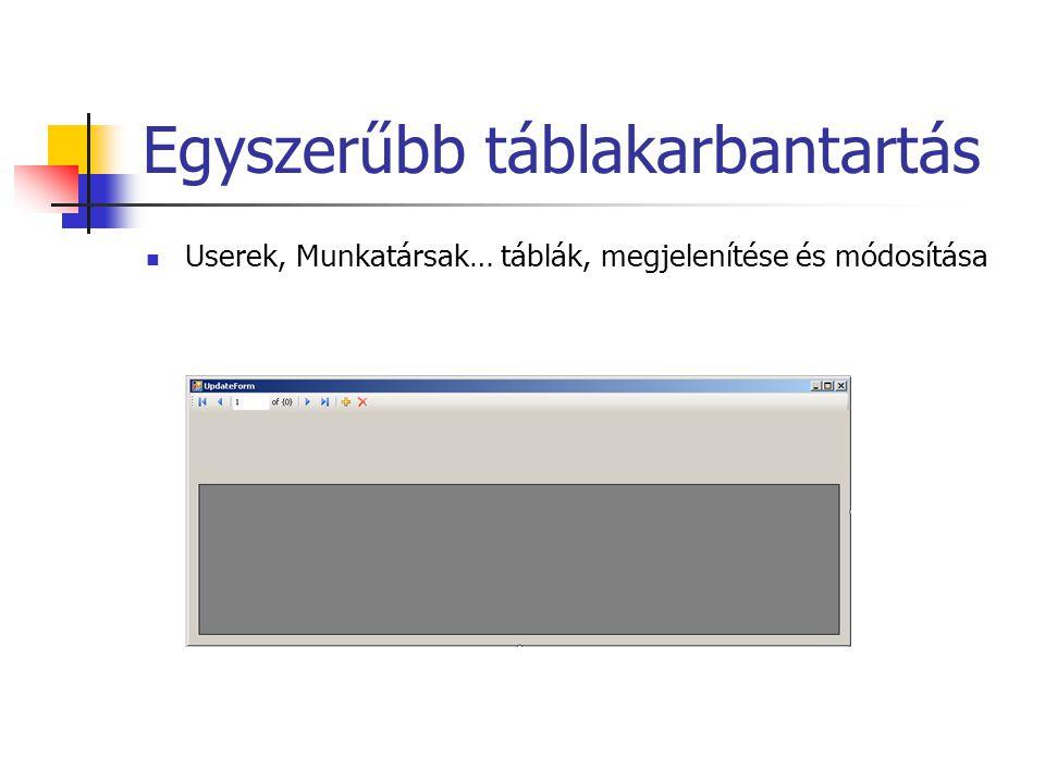 Egyszerűbb táblakarbantartás Userek, Munkatársak… táblák, megjelenítése és módosítása