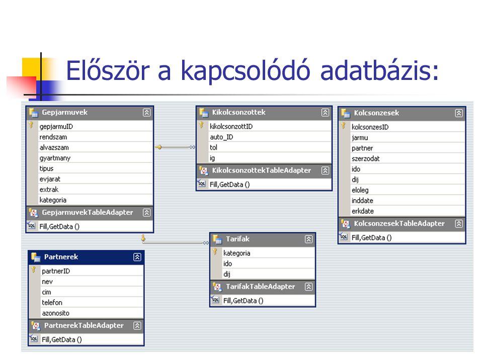 Először a kapcsolódó adatbázis: