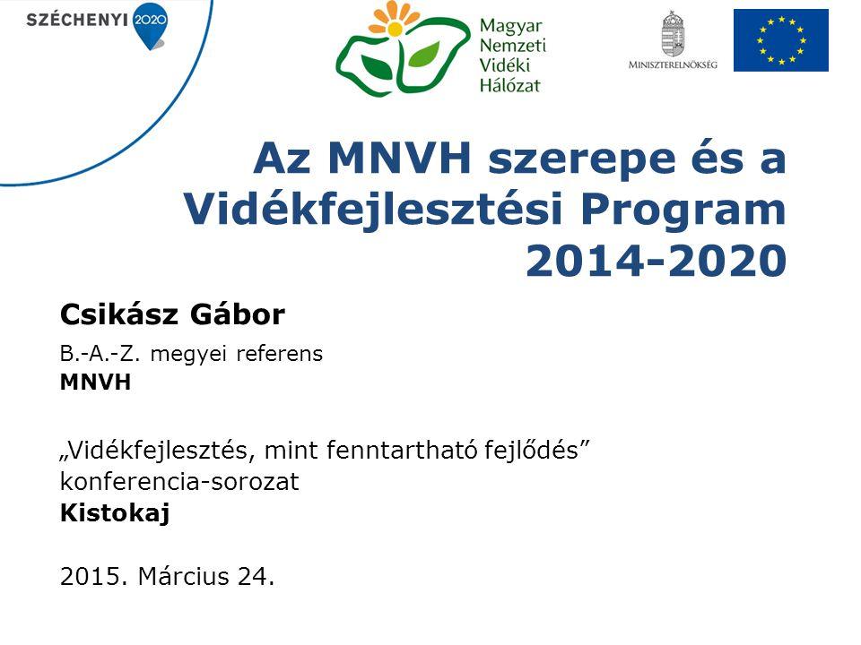 """Az MNVH szerepe és a Vidékfejlesztési Program 2014-2020 Csikász Gábor B.-A.-Z. megyei referens MNVH """"Vidékfejlesztés, mint fenntartható fejlődés"""" konf"""