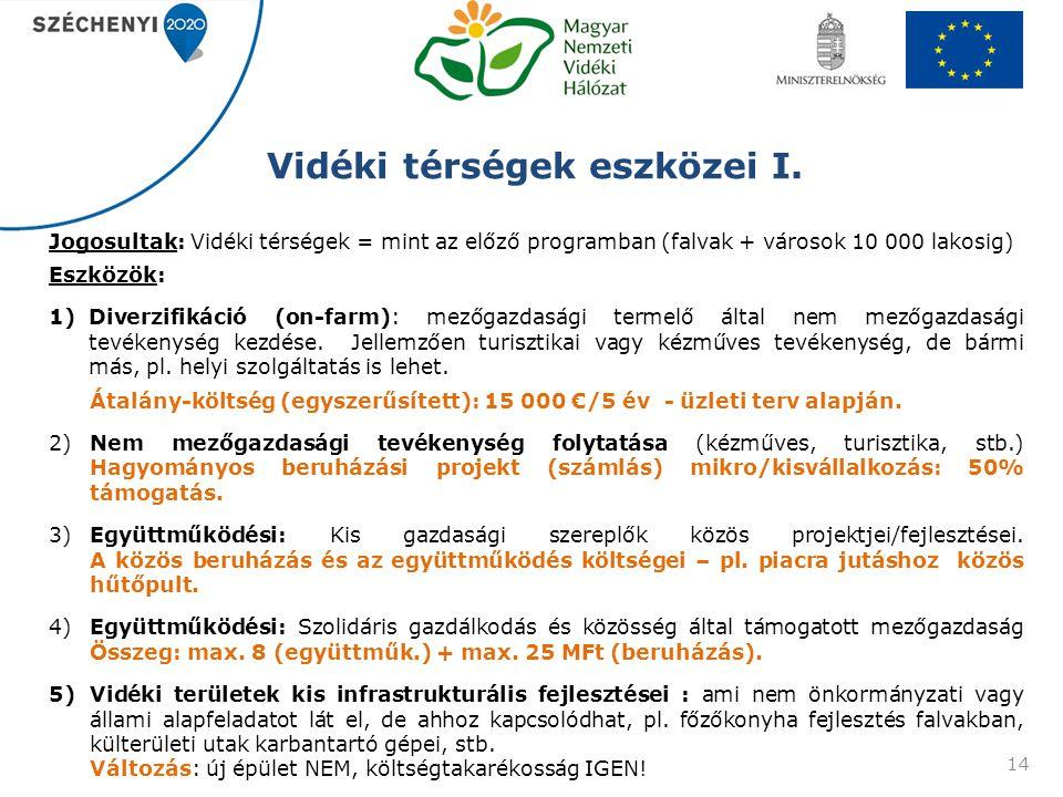 Vidéki térségek eszközei I. Jogosultak: Vidéki térségek = mint az előző programban (falvak + városok 10 000 lakosig) Eszközök: 1)Diverzifikáció (on-fa