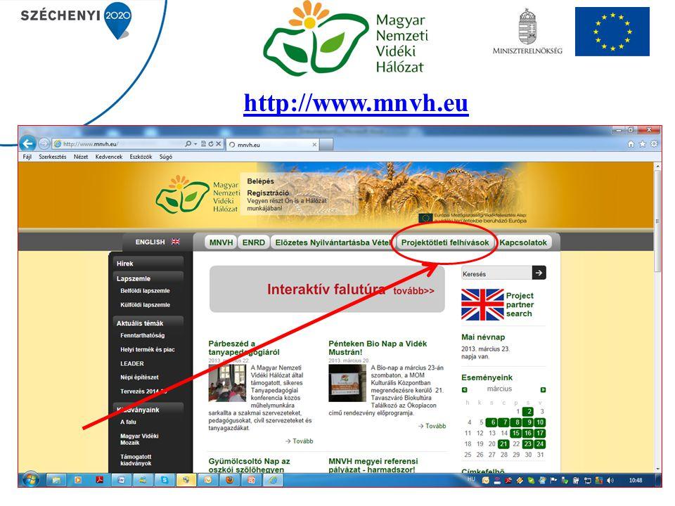 Projektötleti témákról részletesebben A benyújtás előfeltétele: előzetes nyilvántartásba vétel, melyre minden hónap első teljes hetében van lehetőség elektronikus formában a www.mnvh.eu honlapon (jelenleg felfüggesztés alatt van).www.mnvh.eu Projektötleti témák: LEADER Helyi Akciócsoportok nemzetközi együttműködését elősegítő vagy előkészítő látogatásra Sokoldalú fenntartható vidékfejlesztéssel kapcsolatos országos térségi és helyi fórumok,események szervezése Sokoldalú fenntartható vidékfejlesztéssel kapcsolatos ismeretátadás szervezésére Sokoldalú fenntartható vidékfejlesztéssel kapcsolatos módszertani és gyakorlati tanulmányok készítésére Sokoldalú fenntartható vidékfejlesztéssel kapcsolatos szakmai kiadványok szerkesztésére, készítésére, sokszorosítására és terjesztésére