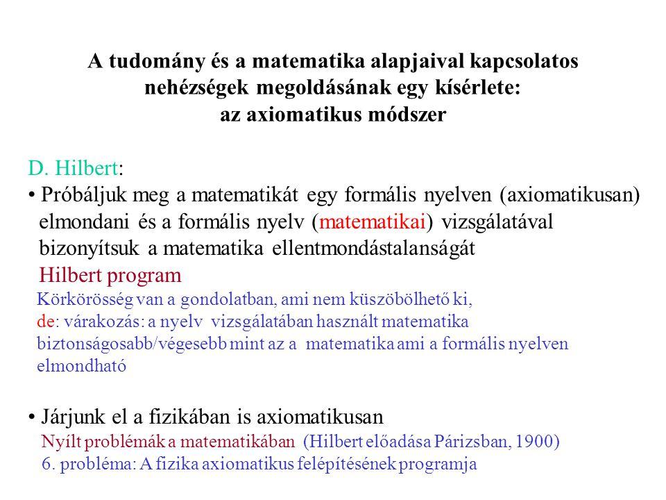 A tudomány és a matematika alapjaival kapcsolatos nehézségek megoldásának egy kísérlete: az axiomatikus módszer D.