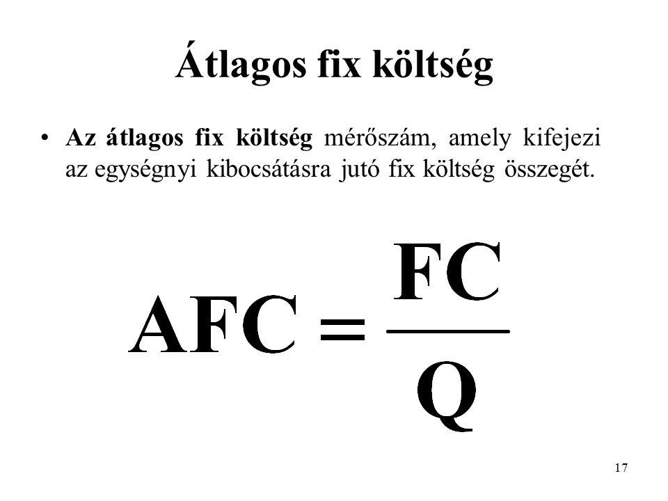 17 Átlagos fix költség Az átlagos fix költség mérőszám, amely kifejezi az egységnyi kibocsátásra jutó fix költség összegét.