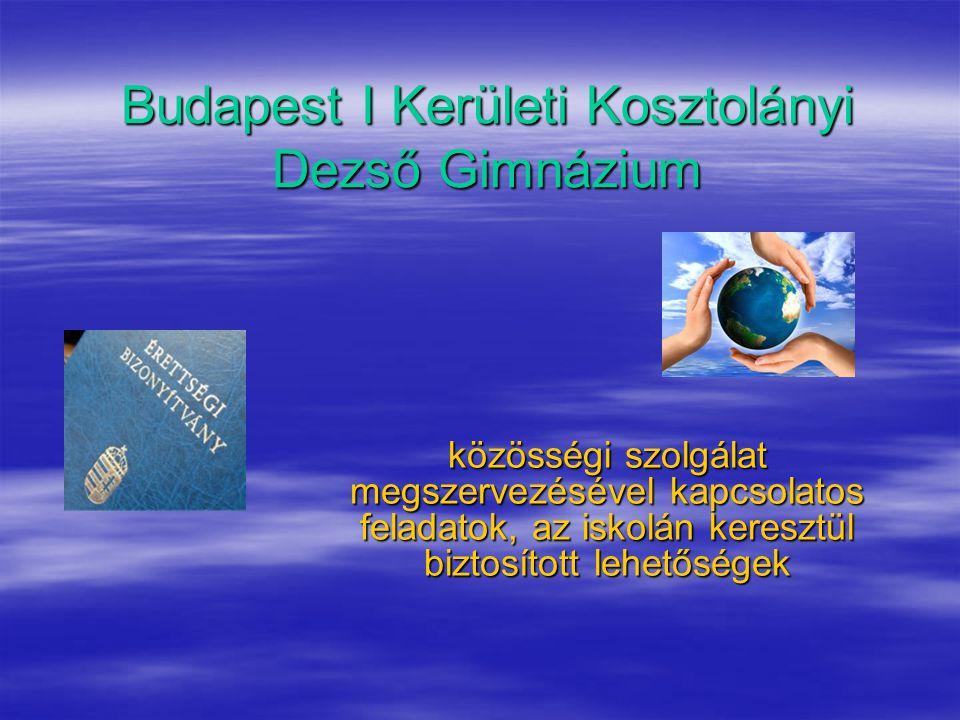 Budapest I Kerületi Kosztolányi Dezső Gimnázium közösségi szolgálat megszervezésével kapcsolatos feladatok, az iskolán keresztül biztosított lehetőségek