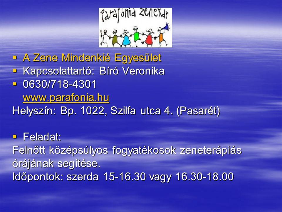  A Zene Mindenkié Egyesület  Kapcsolattartó: Bíró Veronika  0630/718-4301 www.parafonia.hu Helyszín: Bp.